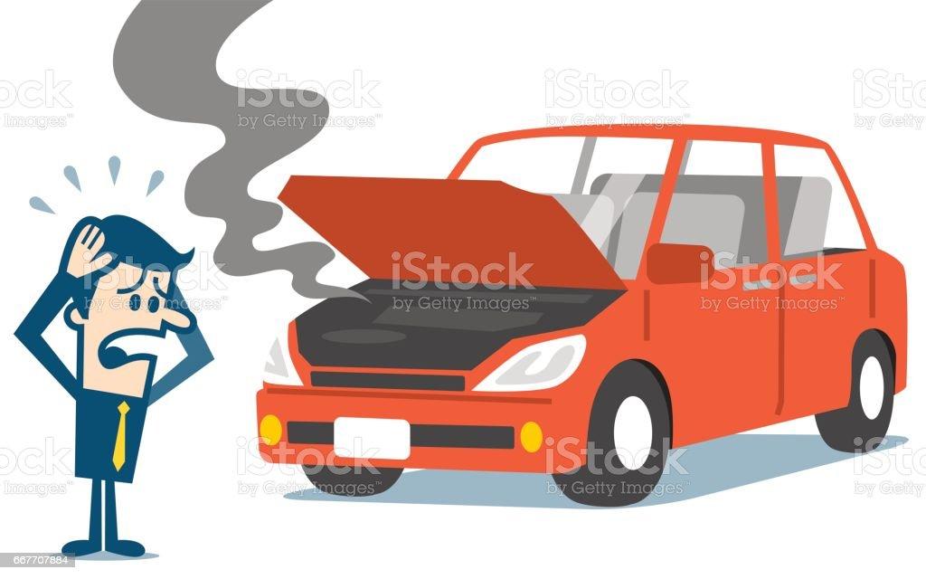 Man standing near a broken car. vector art illustration