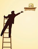 A man standing on a ladder trying to reach a cookie jar