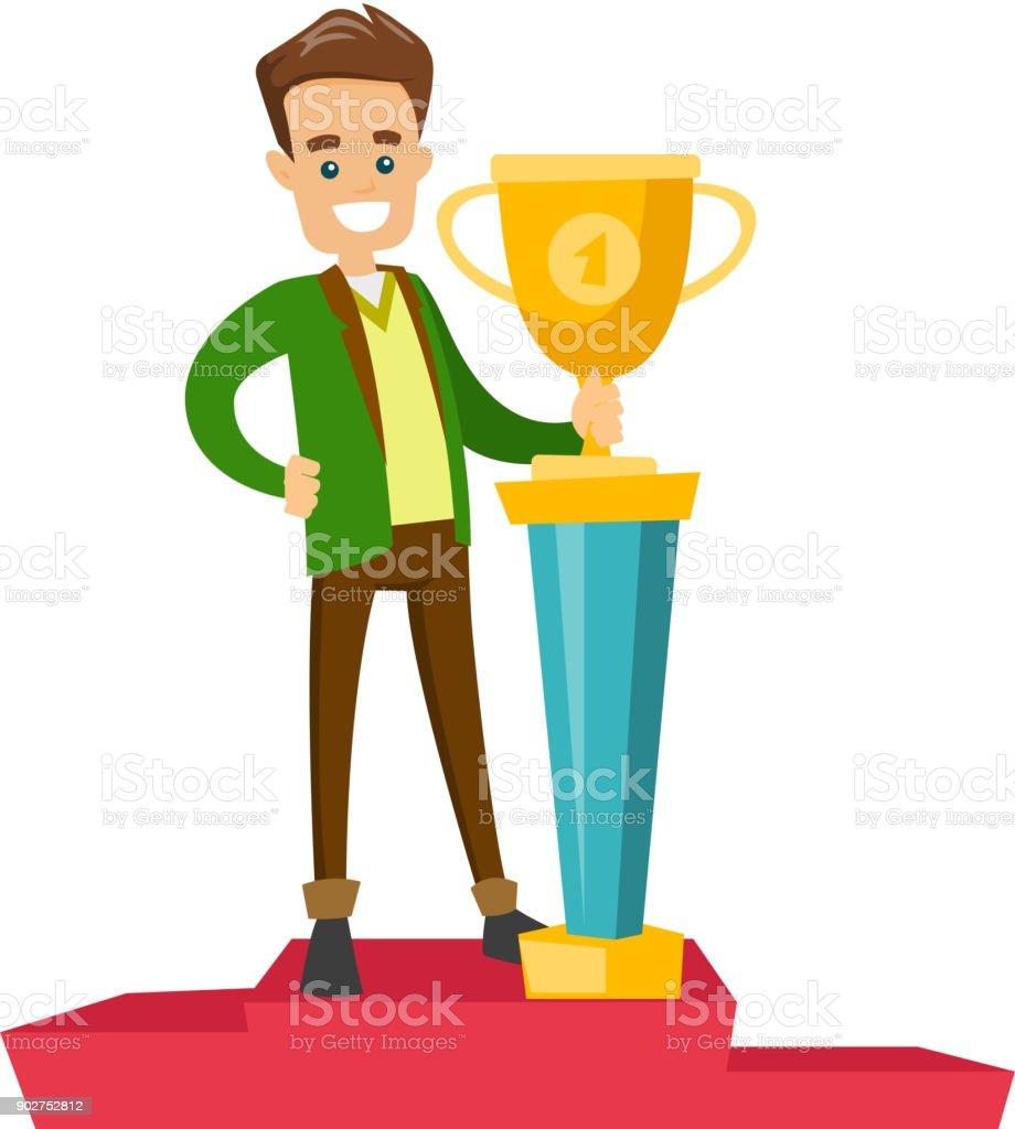 ビジネス賞と台座の上に立っている人 1人のベクターアート素材や画像を