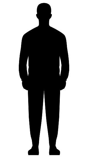 Man standing silhouette - black simple, isolated - vector