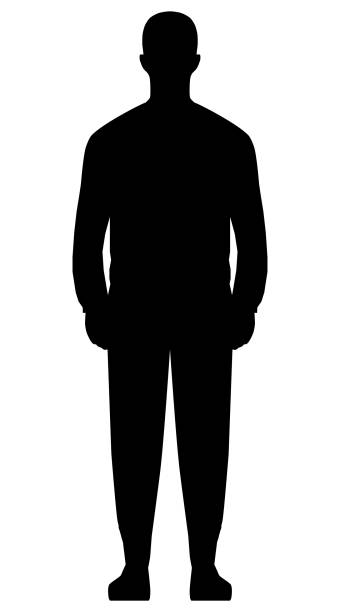 Man standing silhouette - black simple, isolated - vector Man standing silhouette - black simple, isolated - vector illustration architecture silhouettes stock illustrations