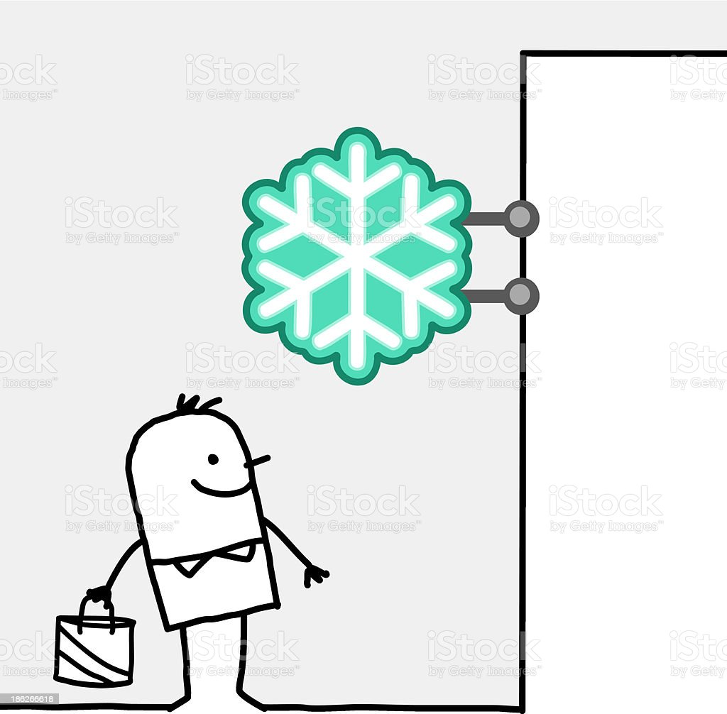 man standing under a frozen product shop sign royalty-free stock vector art