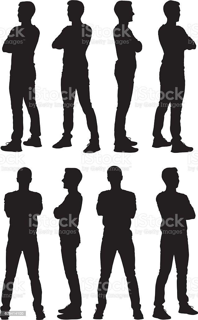 Hombre de pie con los brazos cruzados - ilustración de arte vectorial