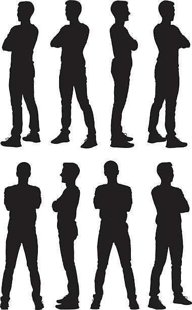 illustrazioni stock, clip art, cartoni animati e icone di tendenza di uomo in piedi con le braccia attraversate - ritratto 360 gradi