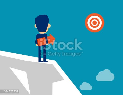 Man standing with arrow direction. Concept business successful vector illustration, Achievement, Kid flat cartoon character style design.