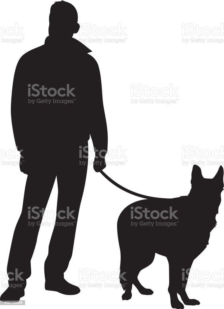 Mann Mit Hund Silhouette Stock Vektor Art und mehr Bilder von ...