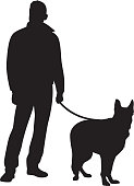 Man Standing with Dog Silhouette