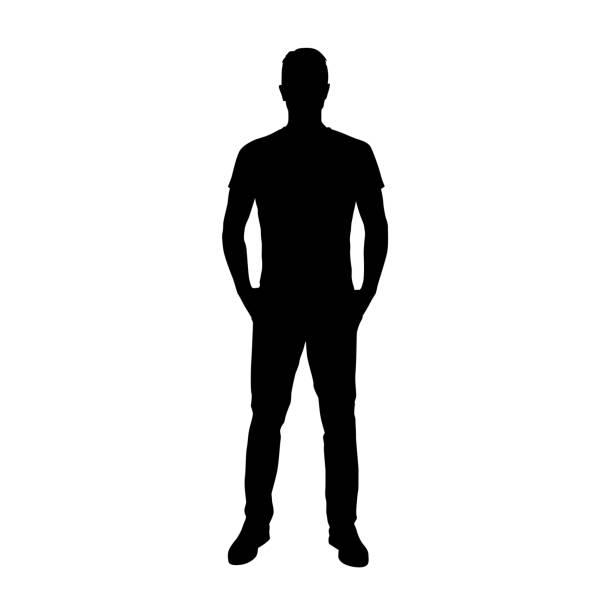 człowiek stojący z rękami w kieszeniach. dorośli ludzie. odizolowana sylwetka wektora - mężczyźni stock illustrations