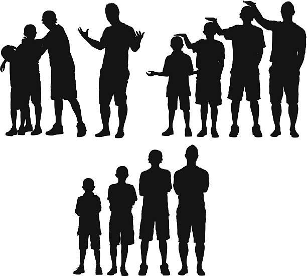 Hombre de pie con sus hijos - ilustración de arte vectorial