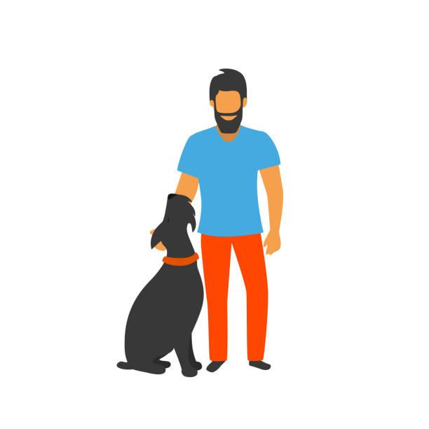illustrazioni stock, clip art, cartoni animati e icone di tendenza di uomo in piedi con la sua illustrazione vettoriale cane ben addestrato - near