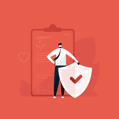 man standing with shield for health care and protection illustration, Medical insurance concept, Insurance policy vector