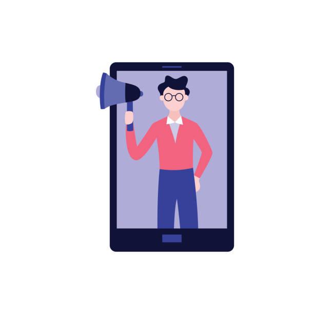mann steht in tablet oder handy-bildschirm hält megaphon flache cartoon-stil - tablet mit displayinhalt stock-grafiken, -clipart, -cartoons und -symbole