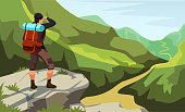 Man with backpack stands on cliff top looking at mountain trail. Climbing, trekking, hiking, walking. Adventures in nature. Panoramic view enjoyment. Outdoor recreation. Vector illustration