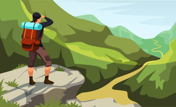 Man stands on cliff top looking at mountain trail Man with backpack stands on cliff top looking at mountain trail. Climbing, trekking, hiking, walking. Adventures in nature. Panoramic view enjoyment. Outdoor recreation. Vector illustration hiking stock illustrations