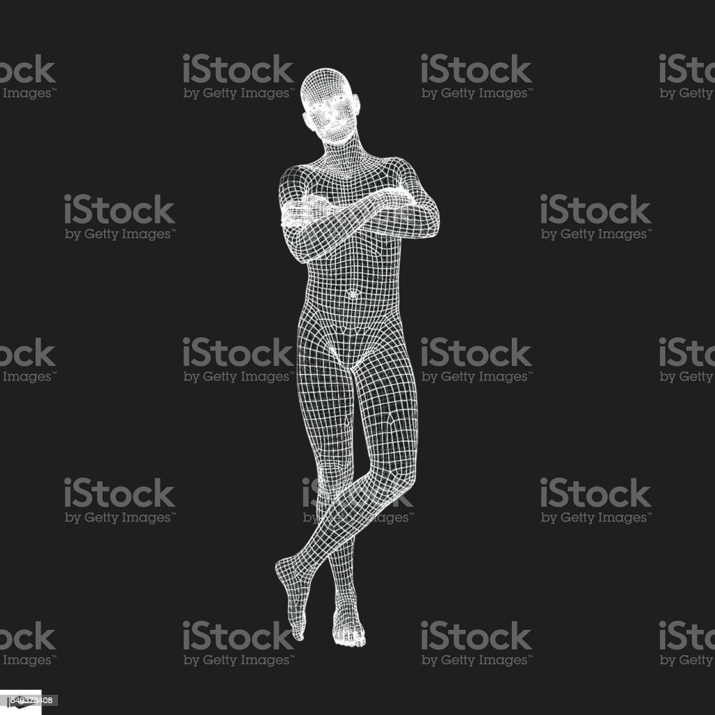 Man Stands on his Feet. Man Crossing His Arms Over His Chest. 3D Human Body Model. vector art illustration