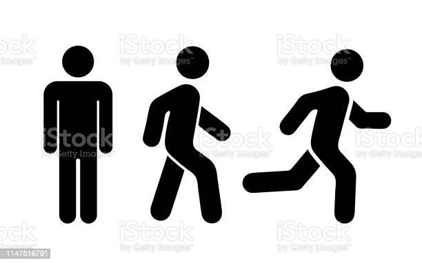 Man Stands Walk And Run Icon Set Vector Illustration - Arte vetorial de stock e mais imagens de Adulto