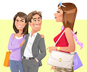 Vector illustration of a man starring at a beautiful woman walking by, making his girlfriend or wife angry. Concept for jealousy, bad behaviour, relationship problems, harrassment, infidelity and cheating.