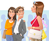 Vector illustration of a man starring at a beautiful woman walking by on a street, making his girlfriend or wife angry. Concept for jealousy, bad behaviour, relationship problems, harrassment, infidelity and cheating.