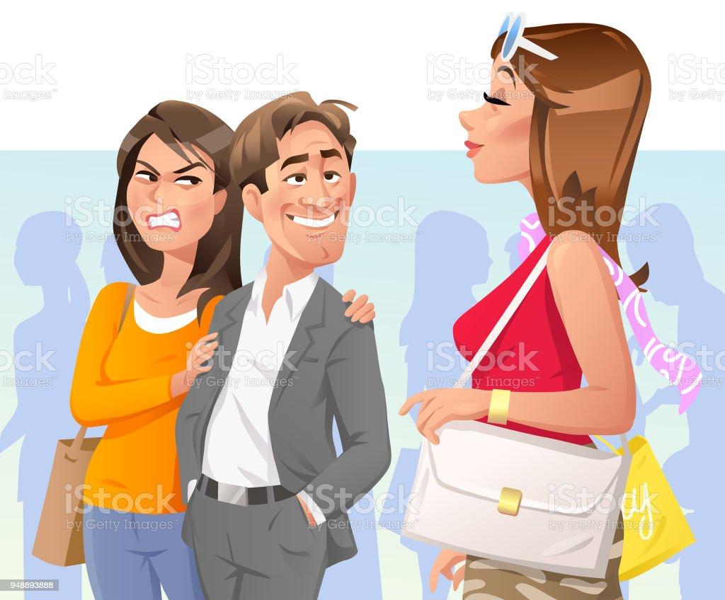 Man Starring At Pretty Woman vector art illustration