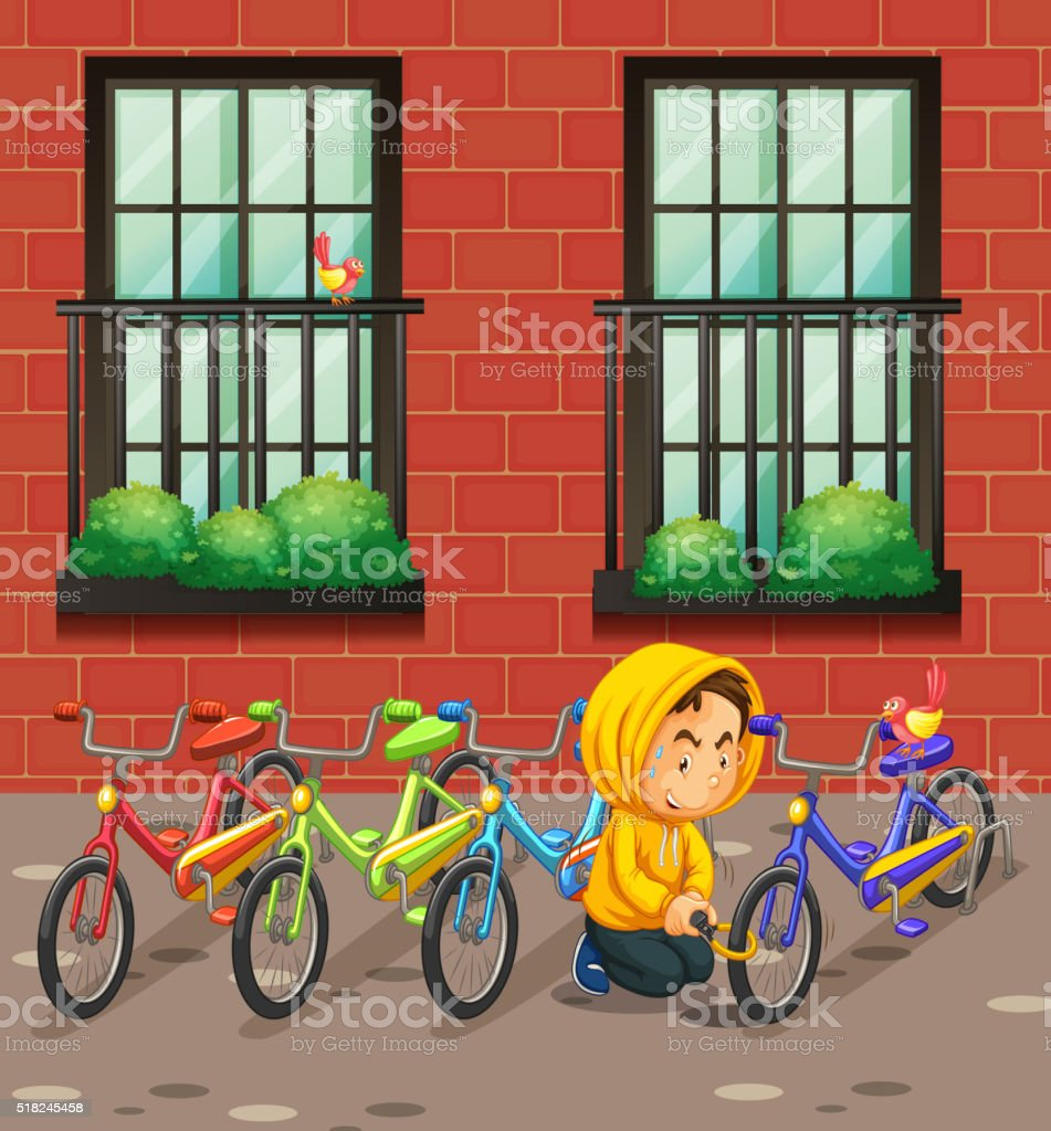Man stealing bike in front of the building vector art illustration