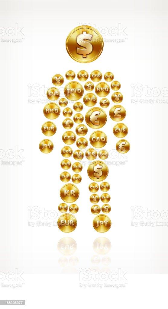 Mann Strichmännchen Auf Gold Münze Knöpfen Stock Vektor Art Und Mehr