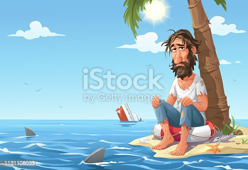 Vector illustration of a scruffy, depressed looking man sitting on a safety buoy on a tiny desert island under a plam tree. The sea around the island is full of sharks. Concept for loneliness, hopelessness, despair, hunger, thirst and survival.