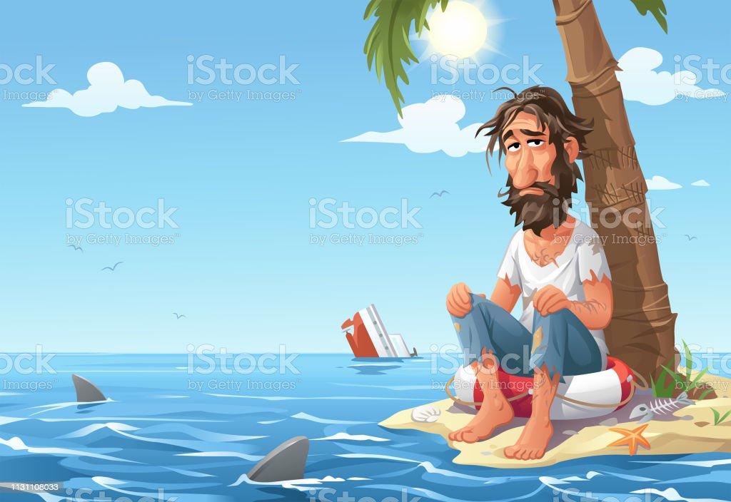 Man Stranded On Desert Island vector art illustration