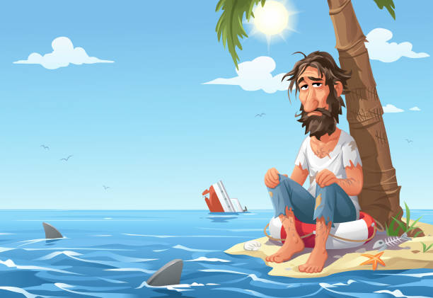 Man Stranded On Desert Island Vector illustration of a scruffy, depressed looking man sitting on a safety buoy on a tiny desert island under a plam tree. The sea around the island is full of sharks. Concept for loneliness, hopelessness, despair, hunger, thirst and survival. one man only stock illustrations