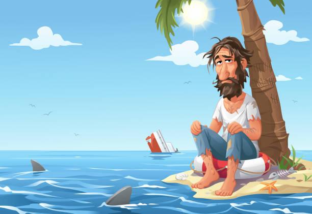 bildbanksillustrationer, clip art samt tecknat material och ikoner med man strandsatta på desert island - grundstött