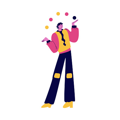 Man street atrist in bright costume standing and juggling with balls vector illustration
