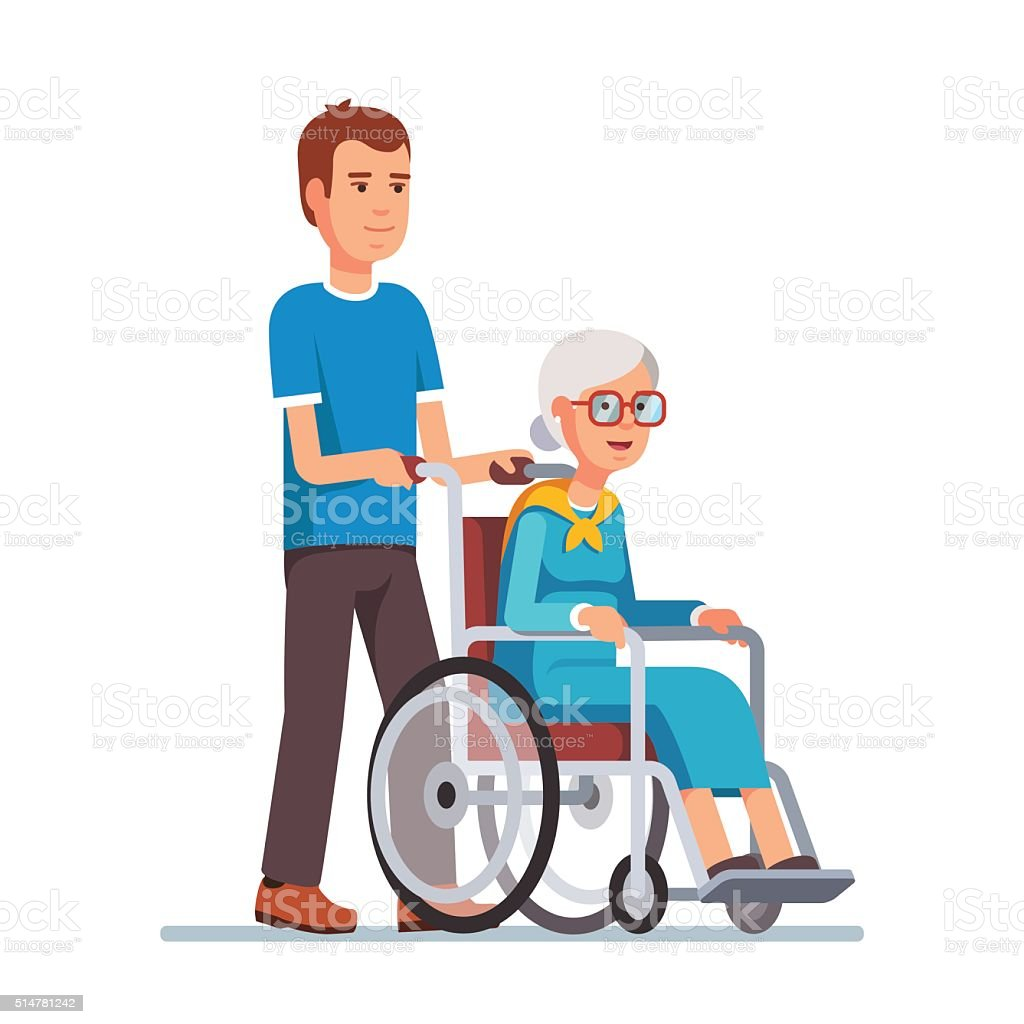 Man strolling with his grandmother in wheelchair vector art illustration