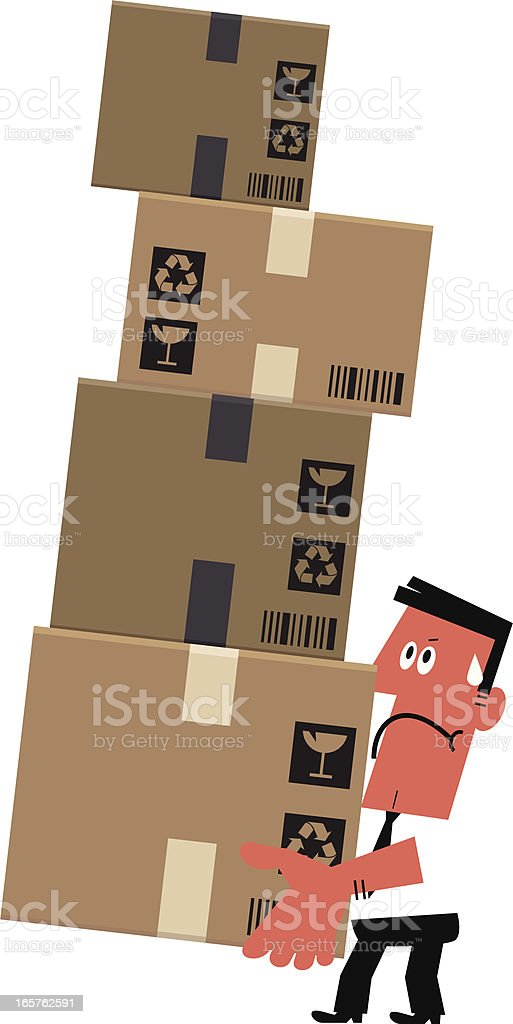 Man Struggling to Lift a Pile of Boxes vector art illustration