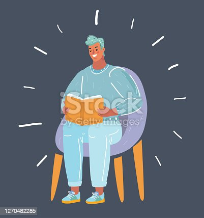 Cartoon vector illustration man reading book on dark background. Human character sitting in chair. Education concept.