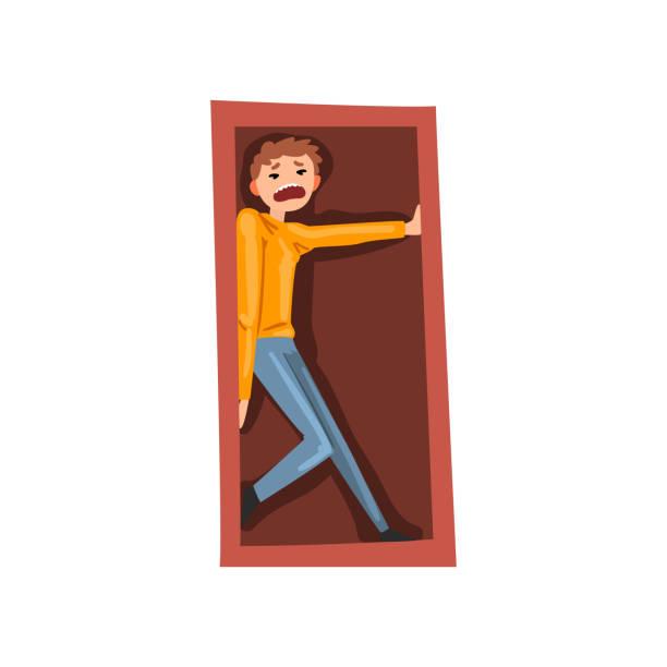 stockillustraties, clipart, cartoons en iconen met man lijdt aan claustrofobie, menselijke angst concept vector illustratie op een witte achtergrond - claustrofobie
