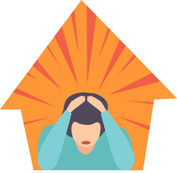 stockillustraties, clipart, cartoons en iconen met man lijdt aan claustrofobie psychische stoornis, psychiatrische, psychologische probleem vector illustratie - claustrofobie