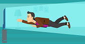 A mman flying in front of TV screen in living room vector flat design illustration. Horizontal layout.