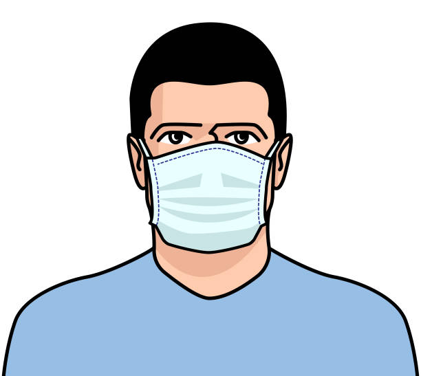 man surgical mask face - face mask illustrations stock illustrations