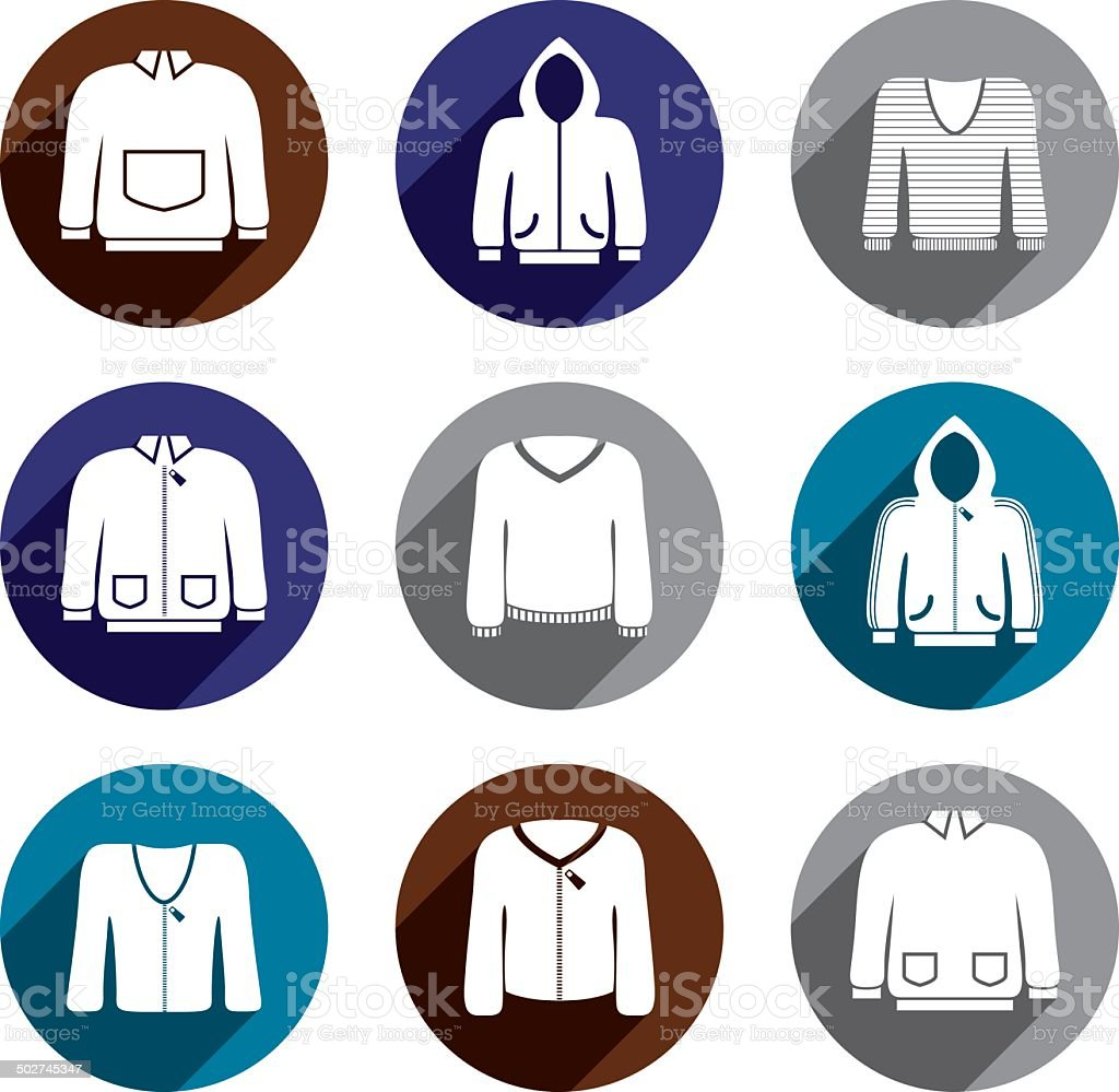 Man sweaters vector icon set. royalty-free stock vector art
