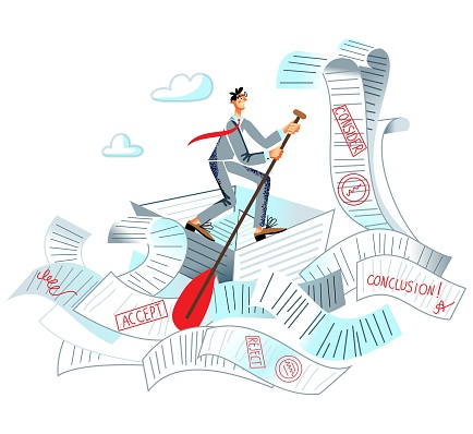 Man swimming in office bureaucracy and paperwork in business. Paper and document overload vector illustration. Frustrated busy man floating in piles and stacks of messy clutter