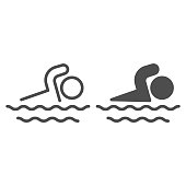 Man swims in sea line and solid icon, Summer concept, Swimming sign on white background, swim icon in outline style for mobile concept and web design. Vector graphics