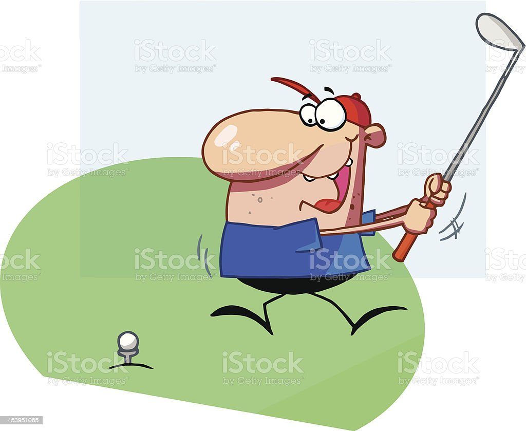 Man Swings Golf Club With Background Stock Vector Art & More Images on cartoon golf club clip art, cartoon golf club swing, the step to draw a cartoon golf club, cartoon man golf club,