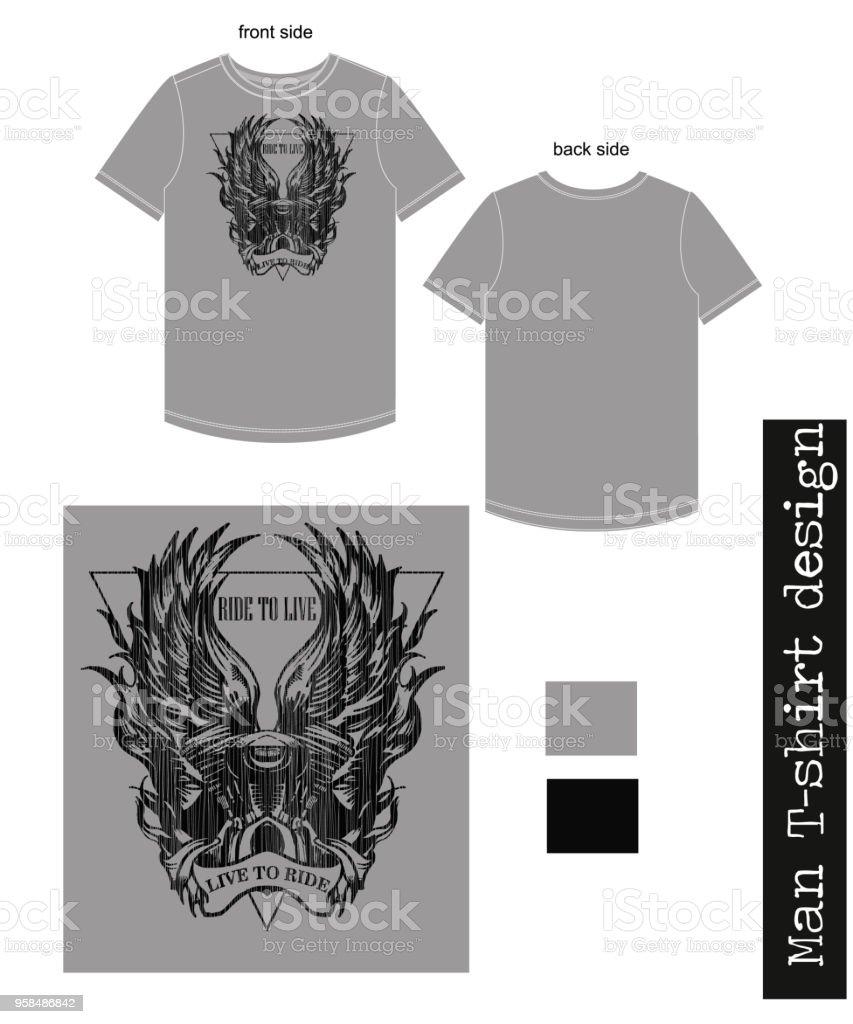Man T Shirt Design With Biker Print Stock Vector Art More Images