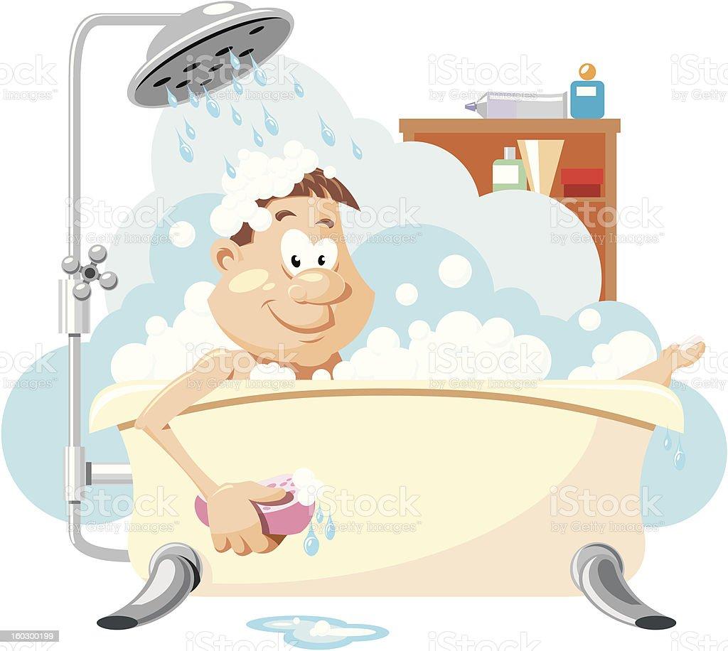 man takes a bath. shower. royalty-free stock vector art