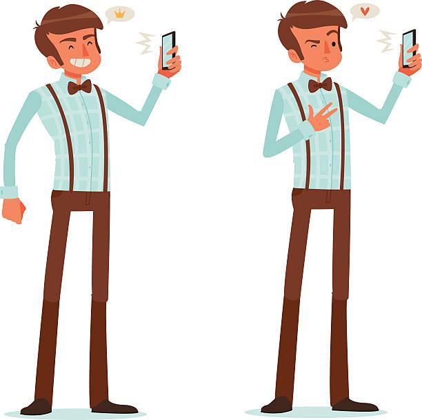 man taking a selfie - plaid shirt stock illustrations