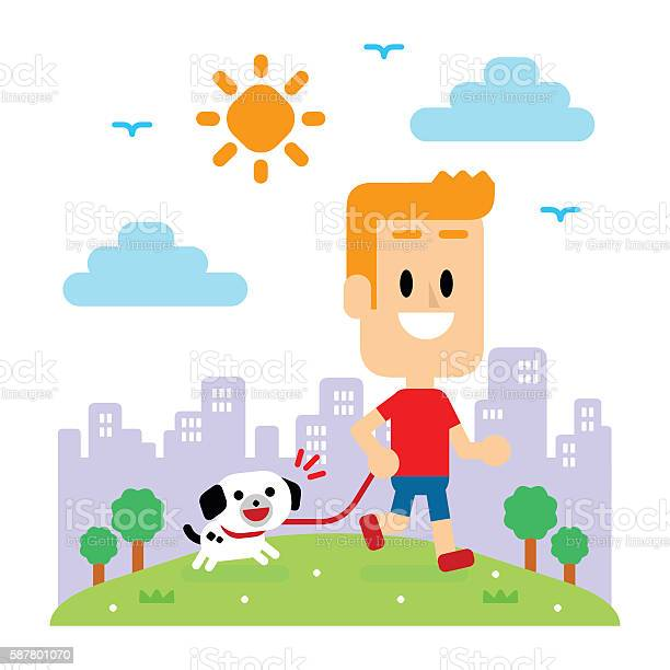 Man taking his puppy for a walk at park vector id587801070?b=1&k=6&m=587801070&s=612x612&h=i9 avhn7hf6d zdl vzc4tmt4xq6ram5vbdlkmbsqgg=