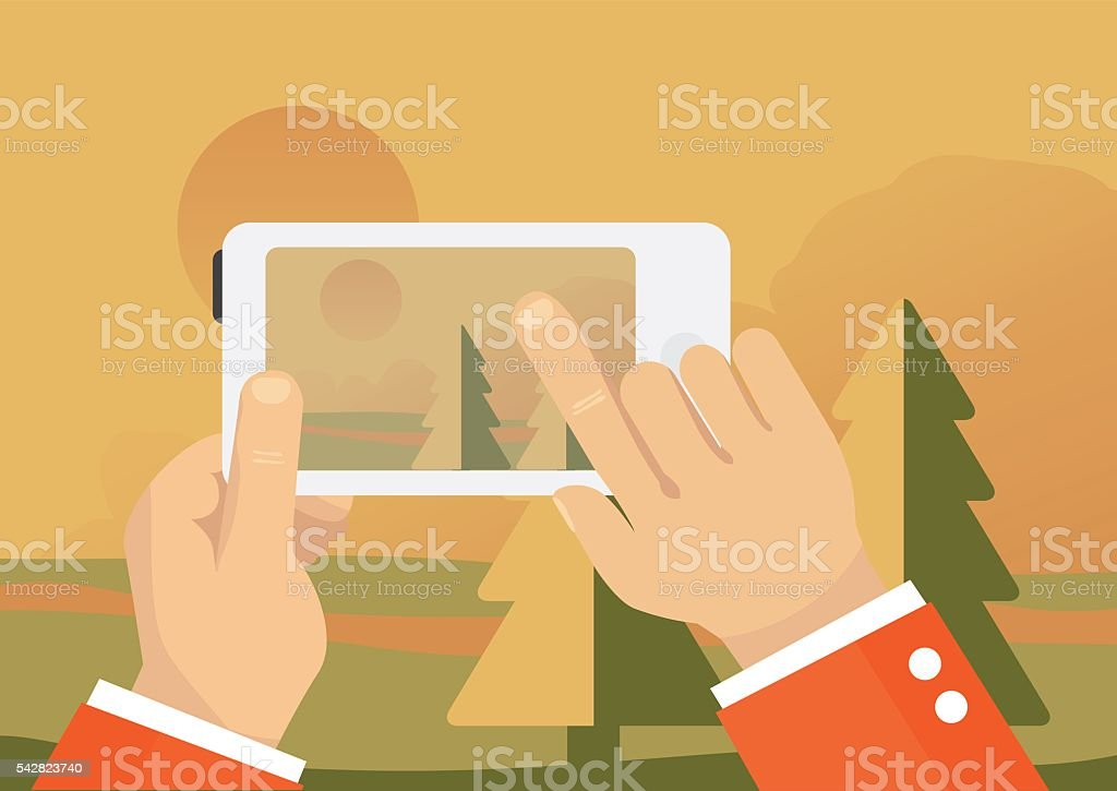 Man taking landscape photo with mobile phone - autumn forest vector art illustration