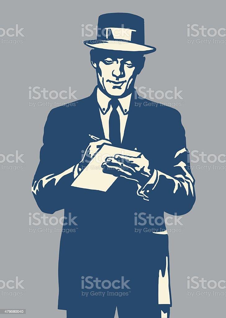 Man Taking Notes - ilustración de arte vectorial