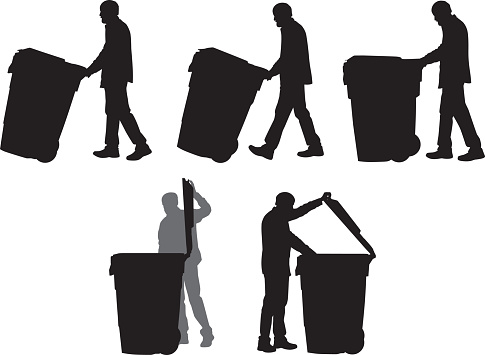 Man Taking Out Trash Silhouettes