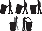Vector silhouettes of a man taking out the trash.