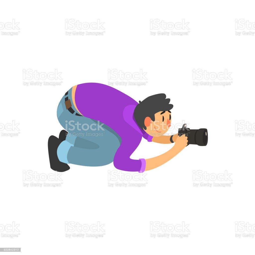 Man Taking Photo From Down Under vector art illustration